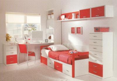 Dormitorio infantil en melamina for Dormitorio rojo y blanco